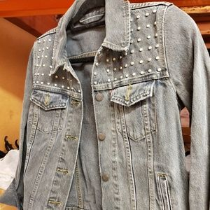 Gray blue Jean Jacket with studs 💯